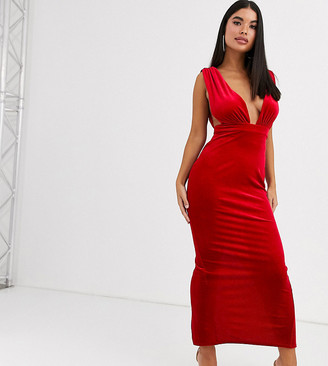 Asos DESIGN Petite velvet deep plunge maxi dress-Red