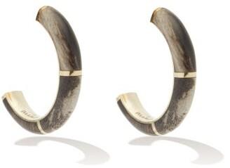 Retrouvaí Petrified Wood & 14kt Gold Hoop Earrings - Brown Multi