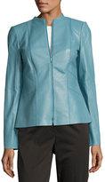 Lafayette 148 New York Denise Leather Jacket, Light Blue