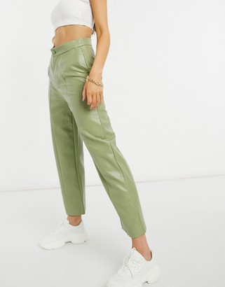 Daisy Street relaxed PU trousers in pistachio