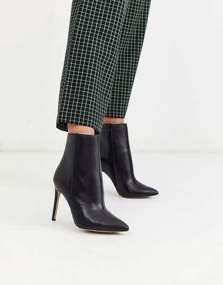 Aldo leather pointed stiletto boots in black
