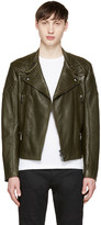 Belstaff Green Leather Longwick Biker Jacket