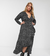 New Look Plus Curve long sleeved wrap dress in mono spot print