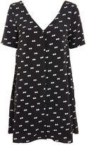 Glamorous **Eyes Print Button Front T-Shirt Dress