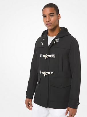 Michael Kors Bonded Wool and Cotton Gabardine Duffle Coat - Black