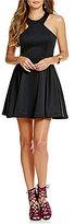 B. Darlin Scuba High Neck Racer Front Sleeveless Skater Dress