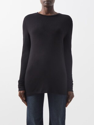 Raey Long-sleeved Organic-wool T-shirt - Womens - Black