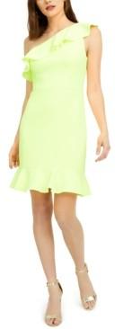 Aidan Mattox One-Shoulder Flounce Dress