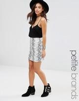 Missguided Petite Faux Snake Skin Mini Skirt