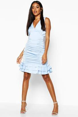 boohoo Ruched Frill Hem Mini Dress