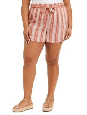 Planet Gold Trendy Plus Size Striped Shorts