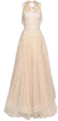 Jenny Packham Open-back Embellished Metallic Polka-dot Tulle Gown