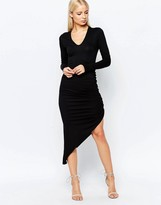 Club L Essentials Long Sleeve Ruched Pencil Dress