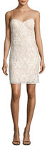 Aidan Mattox Sleeveless Beaded Lace Bustier Cocktail Dress, Ivory