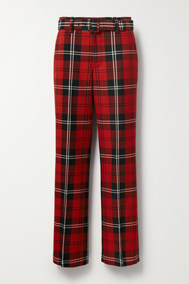 Marc Jacobs Belted Tartan Wool-twill Straight-leg Pants - Red
