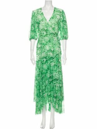 Ganni Floral Print Long Dress w/ Tags Green