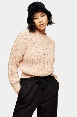 Topshop Womens Petite Pink Textured Pointelle Knitted Jumper - Pink