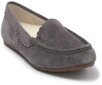 Vionic Mckenzie Suede Faux Fur Moccasin Slipper - Wide Width Available
