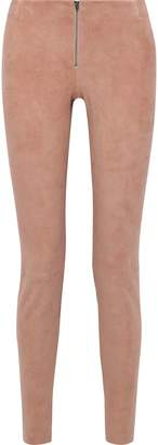 Alice + Olivia Zip-detailed Suede Leggings
