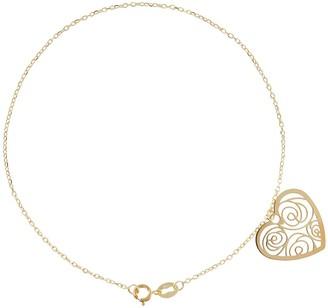 """Italian Gold 7-1/4"""" Filigree Heart Charm Bracelet, 14K"""