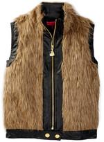Betsey Johnson Faux Fur & Faux Leather Vest (Big Girls)