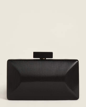 La Regale Black Ribbed Box Clutch
