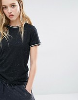 Daisy Street T-Shirt In Speck With Neck Rib Contrast