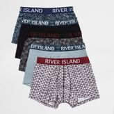 River Island MensBlue print hipster trunks pack