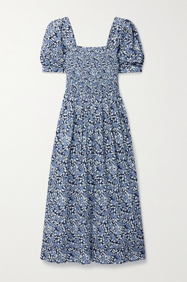 The Great The Savanna Shirred Floral-print Cotton-voile Midi Dress - Blue