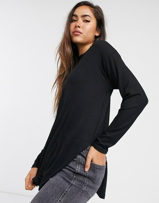 ASOS DESIGN top with side splits and long sleeve in clean rib in black