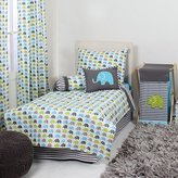 Bacati Elephants 4 Piece Toddler Bedding Set, Aqua/Lime/Grey by