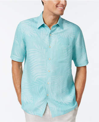 Tasso Elba Leaf Jacquard Silk Linen Blend Short-Sleeve Shirt