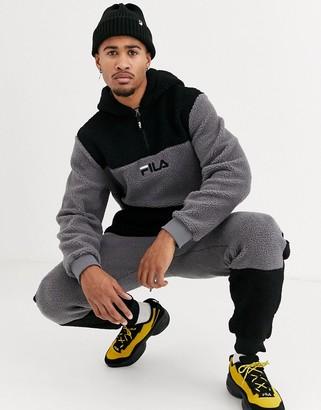 Fila Bruno sherpa hoodie in black