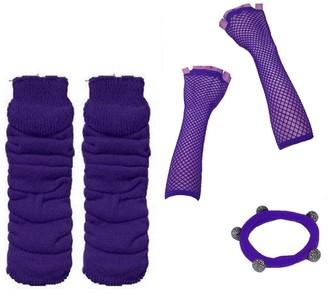 A Express A-Express Ladies Girls Neon Solid Leg Warmers Long Fishnet Gloves Fancy Dress Tutu