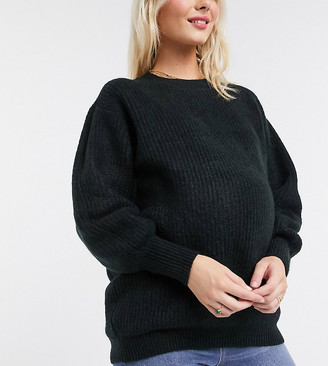 ASOS DESIGN Maternity crew neck fluffy sweater with balloon sleeve