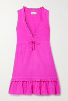 Thumbnail for your product : HONORINE Lolita Ruffled Cotton-seersucker Mini Dress - Fuchsia