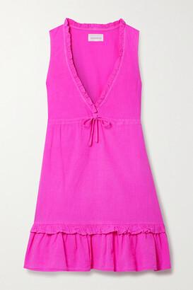HONORINE Lolita Ruffled Cotton-seersucker Mini Dress - Fuchsia