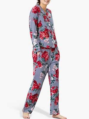 Joules Caitlin Stripe Floral Pyjama Set, Blue