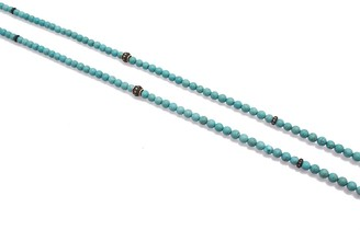 Armenta Old World Blackened Sterling Silver & 18K Yellow Gold Pave Diamond Station & Magnesite Beaded Necklace