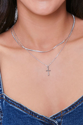 Forever 21 Layered Cross Pendant Necklace