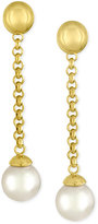 Majorica Gold-Tone Imitation Pearl Linear Drop Earrings