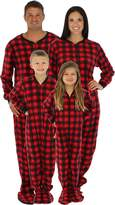 SleepytimePjs Family Matching Red Plaid Fleece Footed Pajamas (STM17-PLA-M-CAN-LRG)