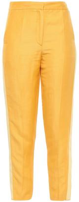 Les Héroïnes Cropped Linen-blend Shantung Tapered Pants