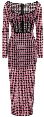 David Koma Houndstooth mesh midi dress