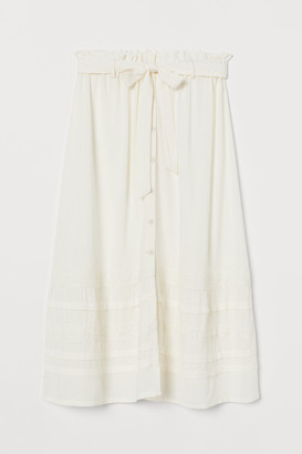 H&M Lace-trimmed Skirt - White
