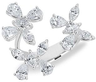 Zydo Luminal 18K White Gold & Diamond Flower Open Ring