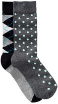 Happy Socks Dots & Argyle Crew Socks - Pack of 2