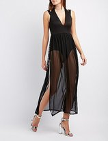 Charlotte Russe Mesh Overlay Maxi Dress