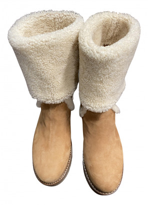 Salvatore Ferragamo Beige Shearling Boots