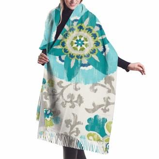 Ghkfgkfgk Aqua Suzani Oversized Cashmere Scarf Shawl Wrap Winter Warm For Women 77x27 inch